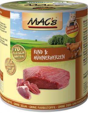 Macs Cat Rind & Hühnerherzen 800 g