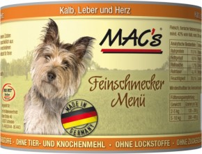 Macs Dog Kalb, Leber und Herz 12 x 200 g