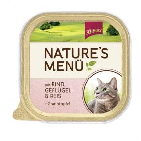 Schmusy Natures Menü mit Rind, Geflügel & Reis + Granatapfel 16 x 100 g