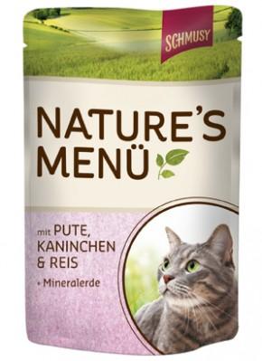 Schmusy Natures Menü mit Pute, Kaninchen & Reis + Mineralerde 24 x 100 g