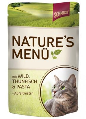 Schmusy Natures Menü mit Wild, Thunfisch & Pasta + Apfeltrester 24 x 100 g