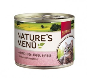 Schmusy Natures Menü mit Rind, Geflügel & Reis + Granatapfel Dose 190 g